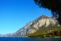 Mountain of Lake Lecco in the fall, Lombardy Italy Royalty Free Stock Photo