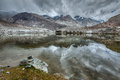Mountain lake lohan tso in himalayas sacred nubra valley ladakh jammu and kashmir india Royalty Free Stock Photo