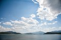 Mountain lake at midday with blue sky taken Royalty Free Stock Photo
