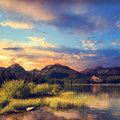 Mountain lake in National Park High Tatra, Strbske pleso Royalty Free Stock Photo