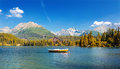 Mountain lake in National Park High Tatras,Strbske pleso,Slovakia,Europe.