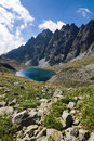 Mountain lake and rocky ridge under the blue sky high tatras slovakia europe Stock Photography
