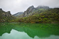 Mountain lake tranquil with green water and reflection at overcast weather with fog arpat crimea Royalty Free Stock Photography