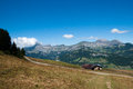 Mountain landscape in alps colorful summer french vacation travel Stock Photos