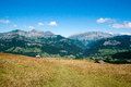 Mountain landscape in alps colorful summer french vacation travel Royalty Free Stock Image