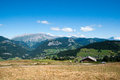 Mountain landscape in alps colorful summer french vacation travel Royalty Free Stock Images