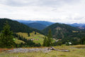 Mountain landscape beautiful located in brodina suceava romania mountains in summer time with hills and some little houses Royalty Free Stock Images