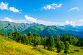 Mountain landscape. Caucasus, Svanetia, Ushguli, Ushba, Georgia. Royalty Free Stock Photo
