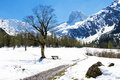 Mountain landscape in the early springtime Austria, Tyrol, Karwendel Alpine Park, near Gramai Royalty Free Stock Photo
