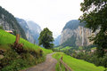 Mountain landscape with hiking path in the Lauterbrunnen valley in Switzerland Royalty Free Stock Photo