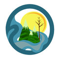 Mountain landscape icon vector illustration of a round nature with mountains lake tree and sun Stock Photo
