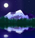 Mountain landscape in moon light Royalty Free Stock Image