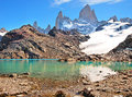Mountain landscape with mt fitz roy and laguna de los tres in los glaciares national park patagonia argentina south america Royalty Free Stock Photos
