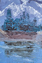 Mountain landscape with oil paints