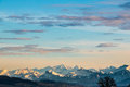 Mountain landscape panrama of the swiss prealpes with beautyful sky Stock Photos