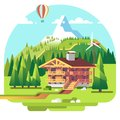 Ski resort mountain landscape with lodge and spruce trees on background. Summer vacation. Flat vector illustration.