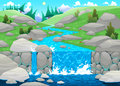 Mountain landscape with river cartoon and vector illustration Stock Photography