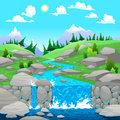 Mountain landscape with river cartoon and vector illustration Stock Image