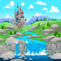 Mountain landscape with river and castle cartoon vector illustration Stock Photos