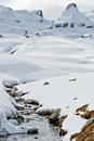 Mountain landscape with snow and river high small in the pyrenees Royalty Free Stock Image