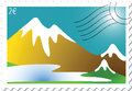 Mountain landscape stamp Stock Photo