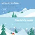 Mountain Landscape Vector Flat Design Web Banners