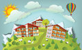 Mountain landscape vector illustration of tourist center in the alps Stock Photography