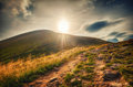 Mountain landscape view of Goverla and dirt road Royalty Free Stock Photo
