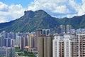Mountain lion rock in Hong Kong city Royalty Free Stock Photo