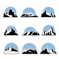 Mountain logo set. Vector illustration, isolated on white.