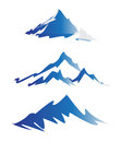 Mountain logos set of in blue and white isolated on white background Royalty Free Stock Image