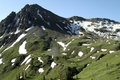 Mountain majesty mid summer patches of snow on a green mountainside Royalty Free Stock Photography