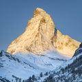 Mountain matterhorn view from zermatt switzerland to high m in sinrise Royalty Free Stock Image