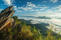Mountain mist of thailand landscape doi pha tang chiang rai in morning with hdr Stock Image