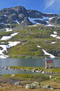 Mountain of norway shed near the water in the haukeli in røldal water landscape Royalty Free Stock Photos