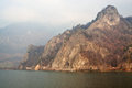 Mountain on Olt river with train passage Royalty Free Stock Photo