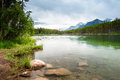 Mountain panorama from Herbert Lake Stock Image