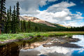 Mountain panorama with small lake at the icefield parkway Royalty Free Stock Photography