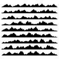 Mountain Panoramic Silhouettes Set on White Royalty Free Stock Photo