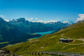 Mountain panorma panorama picture with summits taken in st moritz switzerland Stock Images