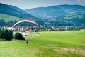 Mountain paragliding in miedzybrodzie zywieckie little city in beskidy mountains in poland in a center of photo airfield Royalty Free Stock Photos