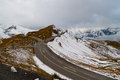 Mountain pass high alpine road on the background of snow capped mountains alps grossglockner austria Stock Photography