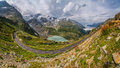 Mountain pass road in gorgeous alpine scenery in summer Royalty Free Stock Photo