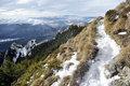 Mountain path in winter tourist high up on early Stock Image