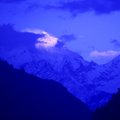 Mountain peak in the Annapurna ridge at sunset, Royalty Free Stock Photo