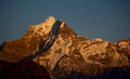 Mountain peak closeup of a during sunset Royalty Free Stock Photo