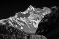 Mountain peak in monotone yading national level reserve daocheng sichuan province china Royalty Free Stock Images