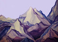 Mountain peaks of the blue and purple Stock Photography