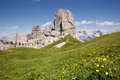 Mountain peaks cinque torri in the italian dolomites Royalty Free Stock Photography