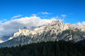 Mountain peaks in the clouds bavarian alps germany Royalty Free Stock Image